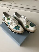 Ladies Prada Flower Patterned White Shoes UK Size 41