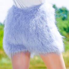 SUPERTANYA BLUE Hand Knitted Mohair Pants Fuzzy Soft Underwear Handmade Shorts