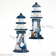 2pcs Lighthouse Decoration Wooden Marine Ornament Beach Idea Best Gift