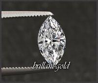 Diamant im Navette Schliff mit 0,61ct +Zertifikat, River D / Si1, unbehandelt