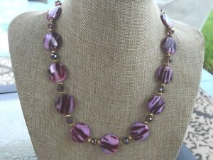 Handmade Necklace Purple, Burgundy Dyed Shell Nuggets, Purple Glass, Gold Beads