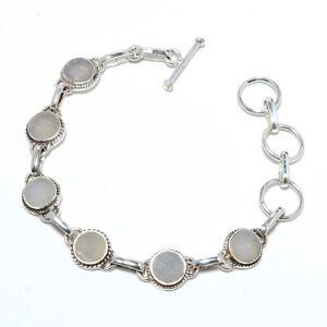 "Opalite Agate Druzy Gemstone 925 Sterling Silver Tennis Bracelet 7.99"" M1572"