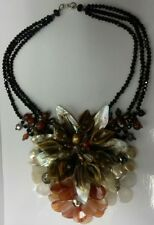 NEW Mother of Pearl Shell Freshwater Pearls Crystal Bead Flower Necklace 51cm