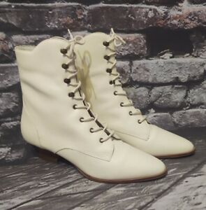 """VINTAGE MIXED BLUES IVORY VICTORIAN LOOK 1.5"""" HEEL LACE-UP LEATHER BOOTS  sz 7M"""