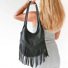 Genuine Leather Fringe Purse Black Shoulder Hobo Bag Womens Tassel Handbag