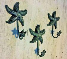 "SET OF 3 ANTIQUE BLUE GRAY STARFISH HOOKS ocean star fish seashell beach 6"" in"