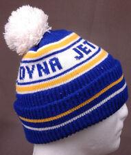 VTG Dyna Jet Knit Winter Hat-Pom Pom-Blue Yellow-Toque-Benie-Snowflake Frisco