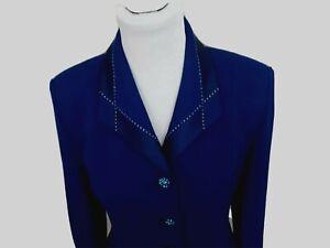 St. John Evening Sz 10 Blue 2 Pc Suit Knit Jacket Skirt Rhinestones Couture