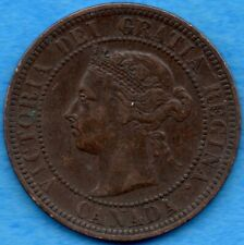 Canada 1886 1 Cent One Large Cent Coin - Very Fine