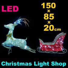 Reindeer Sleigh RED SILVER Glitter Deer Outdoor Christmas LED Lights display