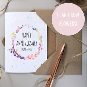 Personalised Happy Anniversary Card / Plantable SEEDED card / Rustic Wildflower