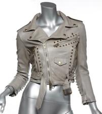 BURBERRY PRORSUM Taupe Leather Gold Spike Studded Cropped Jacket Coat 2 XS