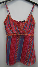New Look Multi Striped Chiffon Vest Top Size 8