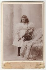 [59032] 1880's CABINET PHOTOGRAPH CARD OF GIRL IN DRESS (RICE: WORCESTER, MASS.)