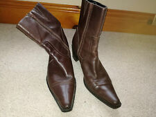 Brown distressed Leather Mid Calf Boots Size 5.5 by Ecco Great Condition
