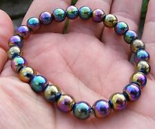Rainbow Hematite Gemstone Crystal Power Bracelet A Grade 8mm Beads
