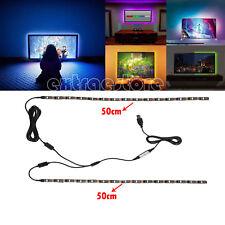 2x 50CM RGB LED Strip Lights USB TV PC Backlight Adjustable Colour Changing Kit