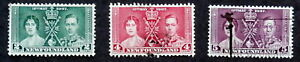 NEWFOUNDLAND 1937: King George VI and Queen Elizabeth Coronation, Scott # 230-32