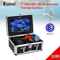 "7"" Underwater Video Camera 8GB DVR 30M 4500mAh Battery Sunvisor Fishing Finder"