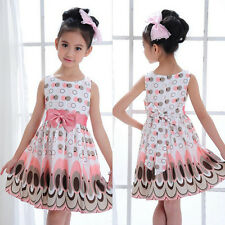 Girls Bow Sleeveless Bubble Peacock Dress Kids Baby Party Sundress Dresses M