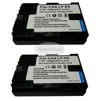 2X Fully decoded Battery for Canon LP-E6 EOS 70D 7D 60D 5D Mark II III 6D