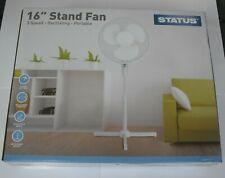 Status Portable 16-Inch Oscillating Stand Fan White