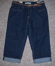 LEVI'S Blue Denim 515 Capri Cropped Capris Jeans Cuffs Belt Size 6 or 28 NWT
