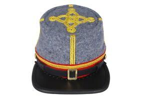 Civil War CSA Artillery Leather Peak Major/Colonel's 3 braids Kepi, Grey/Red