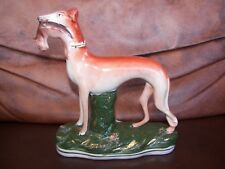 Antique Victorian Staffordshire Pottery Greyhound with Captured Rabbit