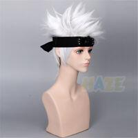 Anime Naruto Hatake Kakashi Cosplay Wigs Silver White Men's Wigs Halloween Props