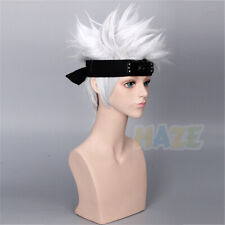 Anime Naruto Hatake Kakashi Perruque Cosplay Halloween argent Perruque Homme 1pc