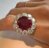 20Ct Oval Synt. Red Ruby Simulated Diamond Cocktail Ring Silver White Gold FNSH