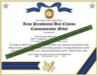 ARMY PRESIDENTIAL UNIT CITATION COMMEMORATIVE MEDAL CERTIFICATE
