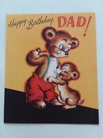 1950s Vtg Pipe Smoking PAPA BEAR & CUB Rust Craft DAD BIRTHDAY GREETING CARD