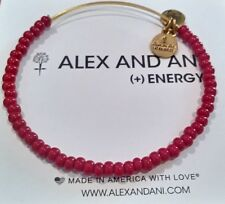 Alex and Ani Red Ruby Sea Bead Russian Gold Expandable Bracelet Retired ❤️