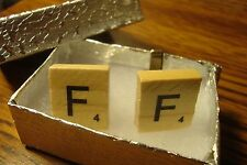 """ F "" Scrabble Tile Monogram Letter Initial Cufflinks 1 Pair (Two) Silver Plate"
