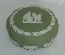 Wedgwood Green Jasperware Round Covered Trinket Jewelry Box Candy Dish with Lid