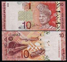 MALAYSIA 10 RINGGIT P42 2001 ZA *REPLACEMENT UNC PLANE TRAIN SHIP MONEY BANKNOTE