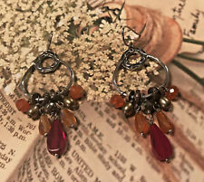 Silpada W2420 NEW Copper Brass Agate Pearl Pyrite Glass Radiate Red Earrings