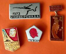 4 Epinglette USSR Russian Soviet Lapel Badge LENINE Escrime 70's Flambeau Torch