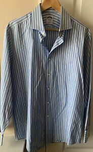 Brooks Brothers Mens Woven In Italy 15.5-34 Blue Striped Button Up Dress Shirt