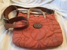 Key per Fossil Orange Canvas  Purse crossbody Handbag