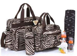 Mes Enfance Mum/baby diaper nappy changing bag 4pcs brown zebra