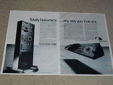 Nakamichi System One Ad, 1977, 2 pgs, RARE! 600, 610, 620, 630 Amp, Pre, Tuner