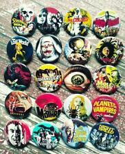 """Horror Movie Buttons, 20-1.25"""" Halloween pins, Pinback or Magnet"""