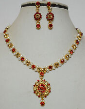 Gold Plated Studded Diamond Pearl Necklace & Earring Valentine Party Jewelry Set