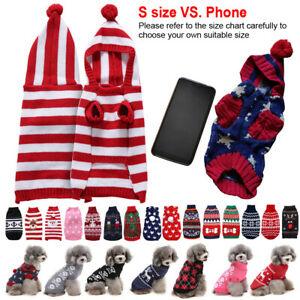 Small Pets Dog Cat Christmas Chihuahua Coat Jumper Knit Hoodie Clothes Sweaters