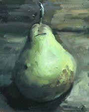 Green Pear Realist still life Original Oil Painting Art Impressionist