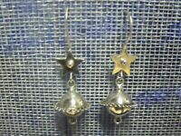 VINTAGE MEXICO STERLING STAR AND PLANET DANGLE EARRINGS 3.04 GRAMS