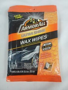 NEW XL ArmorAll Ultra Shine Wax Wipes, One Step Long Lasting, 12 XL Wipes